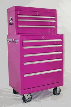 8 Drawer Pink Tool Box Chest Combo