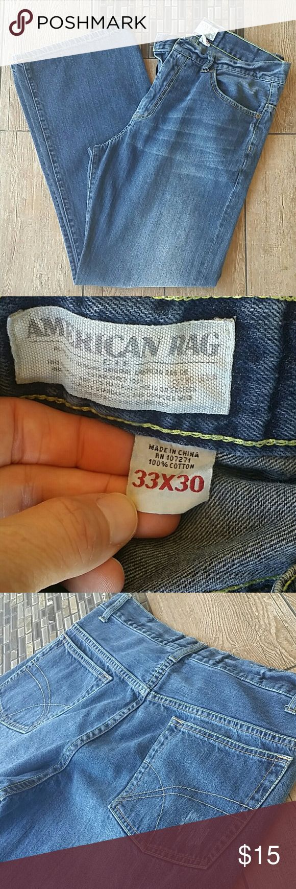 """American Rag Jeans Dark rinse American Rag jeans """"Destroyed"""" look on back pocket and spots throughout legs Slight fraying on bottom of jean 9.5"""" leg opening at bottom Smoke free home American Rag Jeans"""