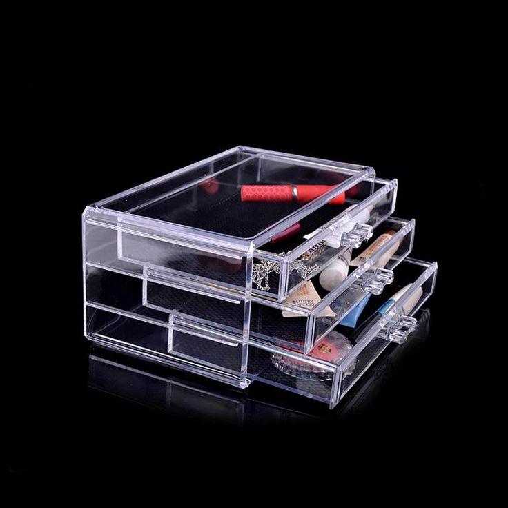 Acrylic Makeup Organizer 3 Drawers Cosmetic Box Case Storage Holder -- BuyinCoins.com