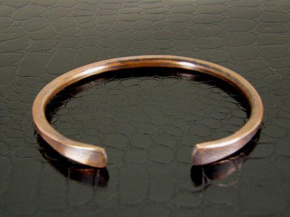 008 Heavy Hammered Copper Bangle Bracelet, Men's Copper Bracelet, Thick Womens Copper Bangle on Etsy, £11.98