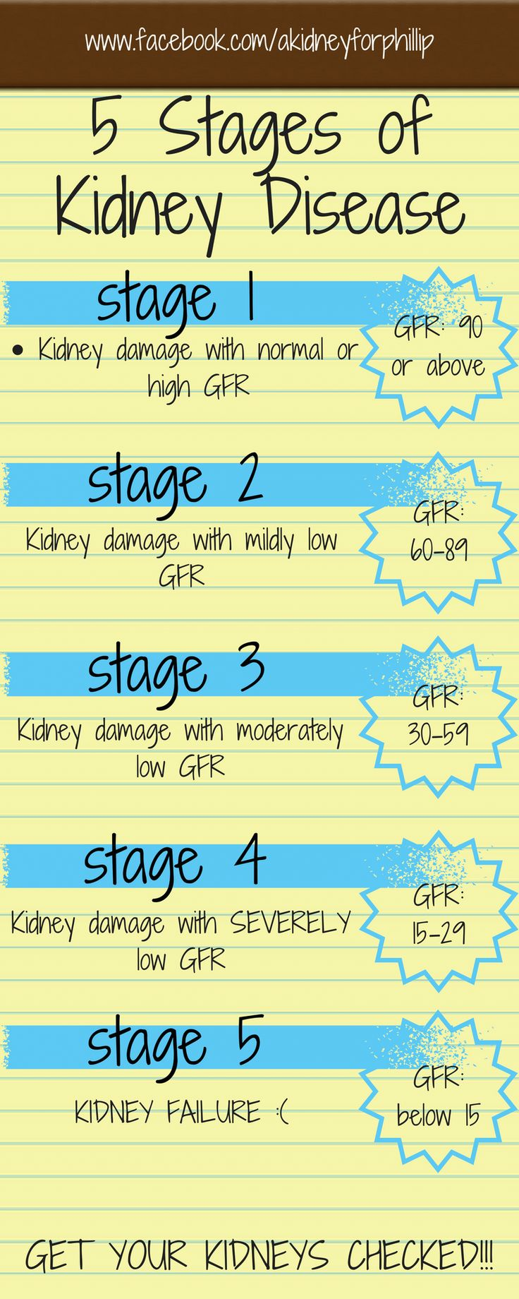 stage 1 stage 2 stage 3 stage 4 stage 5 www.facebook.com/akidneyforphillip 5 Stages of Kidney Disease GFR: 90 or above Kidney damage with normal or high GFR GFR: 60-89 Kidney damage with mildly low...