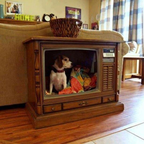Hondenmand van oude tv