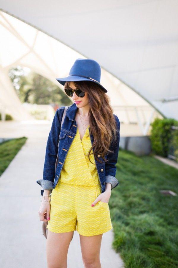 Vanessa Leone sara kapelusz z kurtki jeansowe i żółty Cynthia vincent Romper M Loves Mmarmar