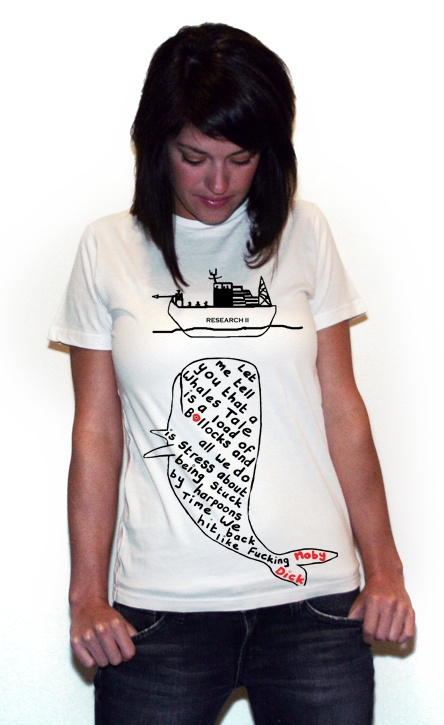 "Whales Tale T-shirt (White) I designed titled ""Hit back like Moby Dick"" created by BlackBrickRd aka me"