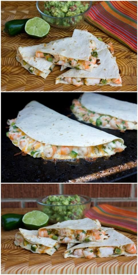 Shrimp and Jalapeno Quesadilla- Amazing grilled shrimp and jalapeño quesadilla recipe, courtesy of my pal Steve who blogs at The Black Peppercorn. Get the recipe at kissmysmoke.com