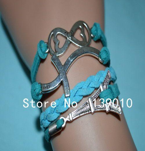 Старинное серебро плетеный стекаются синий зеленый кожаный замши крест эйфелева башня бесконечность браслет манжета браслеты мода женщины ювелирные изделия