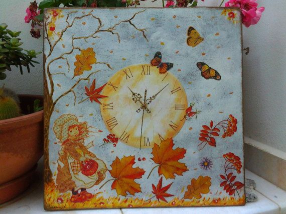Wall clock Sarah Kay's dancing leaves   Shabby Chic  by Blowart, €52.00