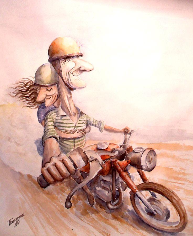 #watercolor, #motorcycle, #rider, #fulltrottle, #oldschool, #retro, #grandfather, #grandmother,