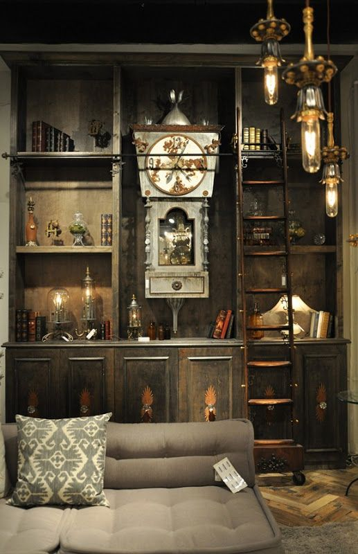 Amazing Eclectic Wall Unit by Luna Bella. High Point.  I love the Old World feel of this room. It looks like it should belong to some curious character in a mystical, Dickensian children's story. Would be great for a basement!