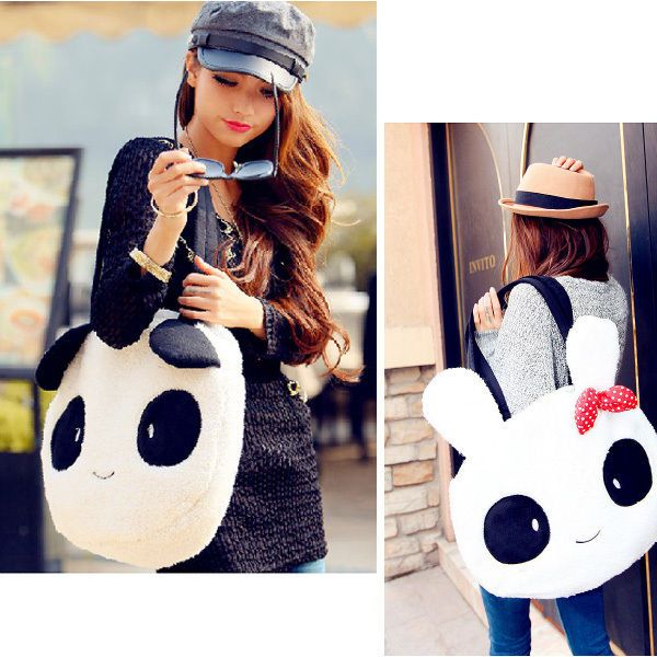 New Fashion Women girl Cotton rabbit panda bag  Backpack Shoulder School bags  cute ,kawaii durable bunny and panda bags for en trend cartoon style, japan pop big enough for all your kit running around town, to office or uni or as a weekend holdall...for kooky,geek chic,quirky alice look