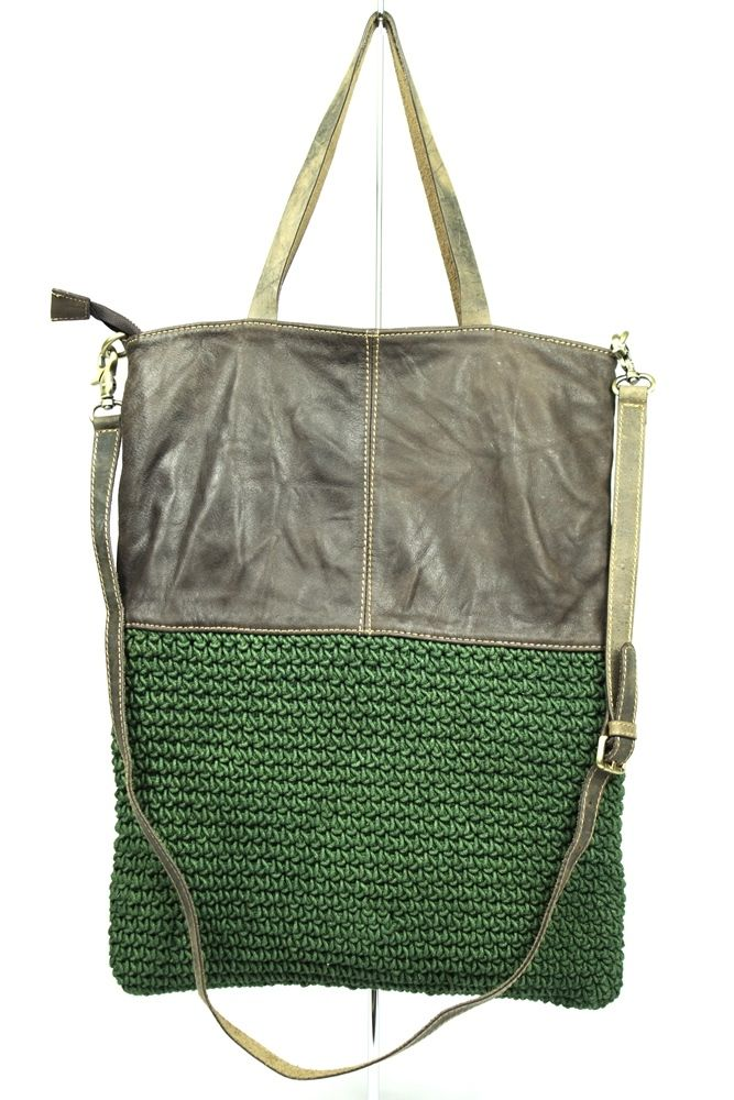 Large tote in crochet and leather, with long shoulder bag strap. I cannot believe how hard I am falling for these hybrid bags. Must get onto shopping for second hand leather handbags to upcycle.