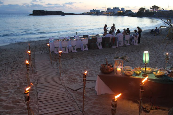 candle light dinner (with buffet) on the beach of Lefkos, Karpathos Island, Greece.