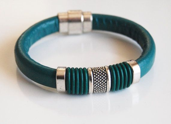 Teal Green Licorice Leather And Green O ring by ferozasjewelery, $40.00