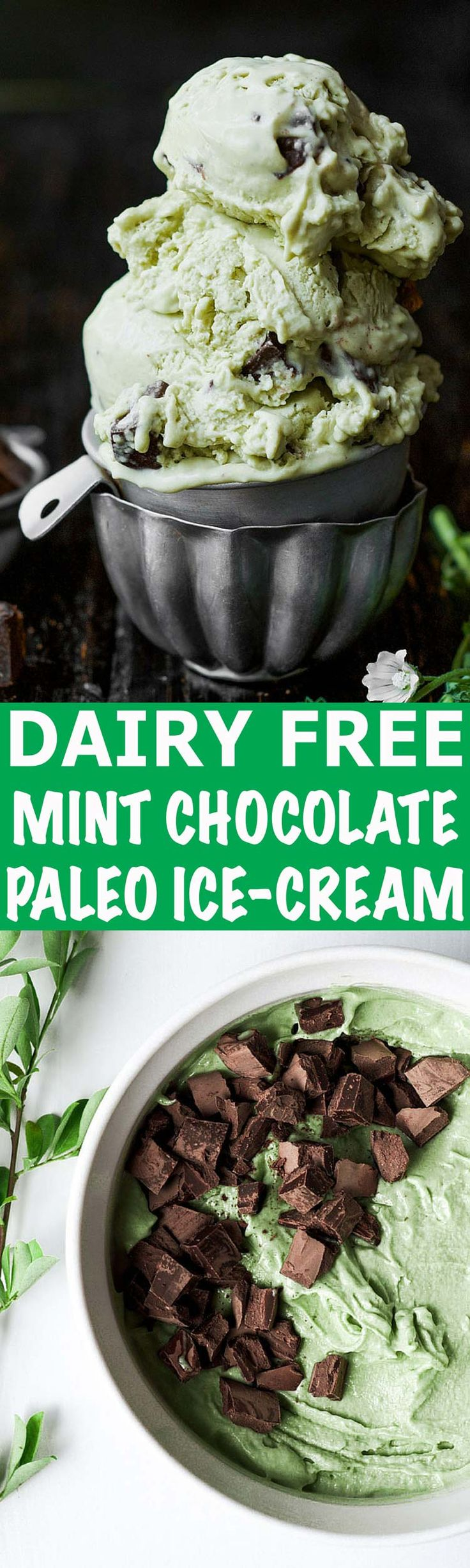 Creamy refreshing smooth vegan paleo ice-cream is the perfect summer treat! Incredibly easy to make at home, this dairy free mint chocolate chip ice-cream is so fresh and satisfying.