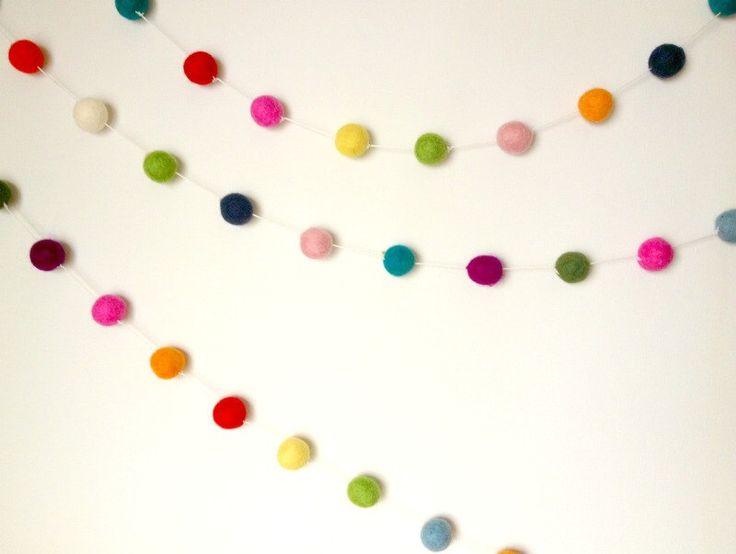 White String Felt Ball Garland 100 ct 14ft Felted balls by YUMMI by yummishop on Etsy https://www.etsy.com/listing/163035415/white-string-felt-ball-garland-100-ct