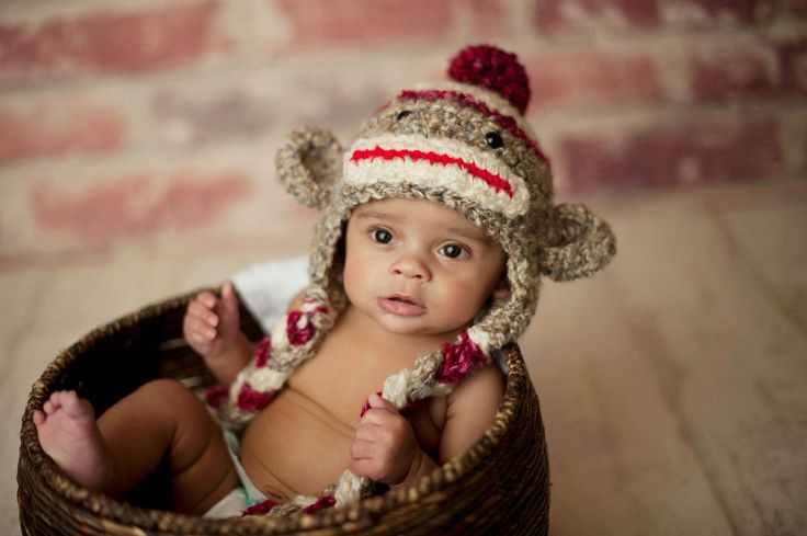 Sock Monkey Hat - Hand Crochet Unisex Baby or Toddler Beanie - Super Soft with Pom Pom in Oatmeal, Red and Cream. $32.99, via Etsy.
