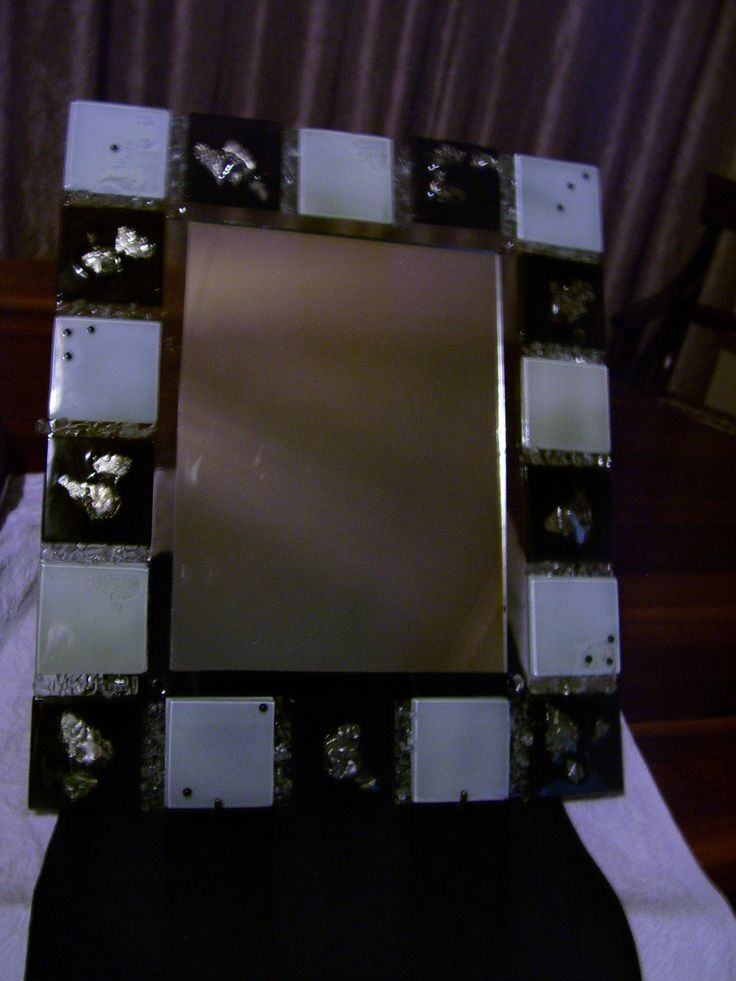 Fused glass mirror frame