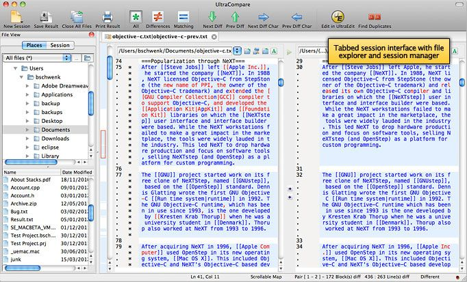 UltraCompare on Mac -- UltraCompare Professional is a powerful compare/merge application loaded with features for comparing files or folders - up to three at a time! Previously available only as a Windows application, UltraCompare is now available as a native Mac OS X and Linux application. With features such as recursive directory compare, remote (FTP/SFTP) file and folder compare, full merging support, find duplicates, folder synchronization, and integration with UltraEdit