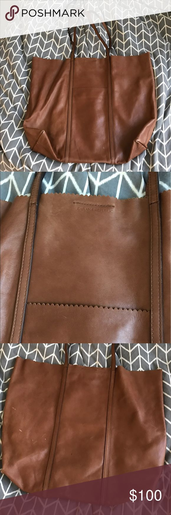 Banana republic brown leather tote Banana republic light brown leather tote. Real soft leather. Worn many times. Very loved. Some marks as seen in the pictures, but still in great condition Banana Republic Bags Totes