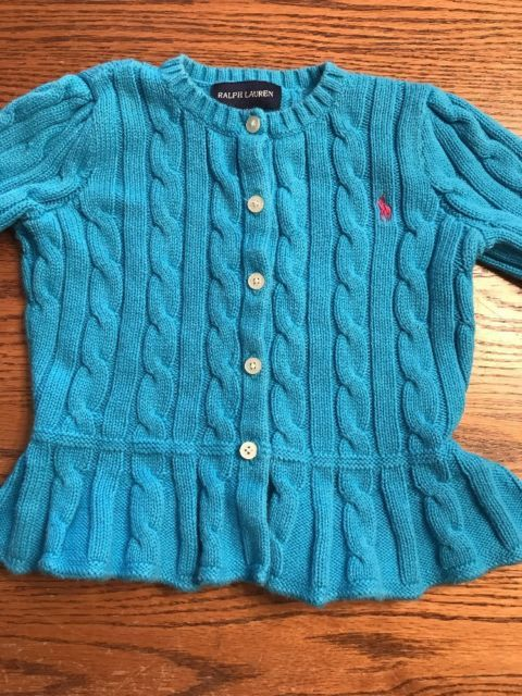 Polo, Ralph Lauren Toddler Girls Size 3T Turquoise Cardigan Sweater | eBay