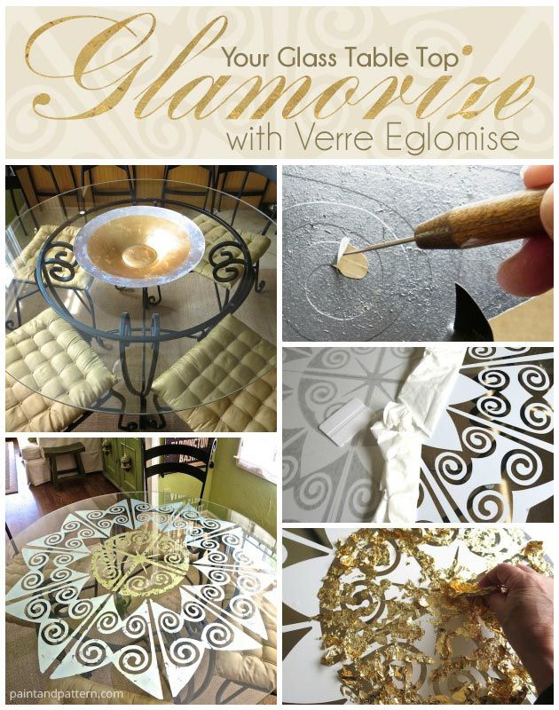 Glamorize Your Glass Table Top With Verre Eglomise And Stencils   Kitchen  Painted Furniture DIY