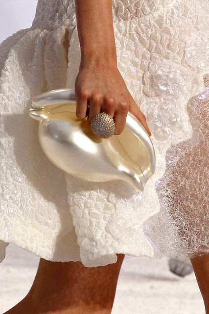 love the shell purse and urchin ring combo