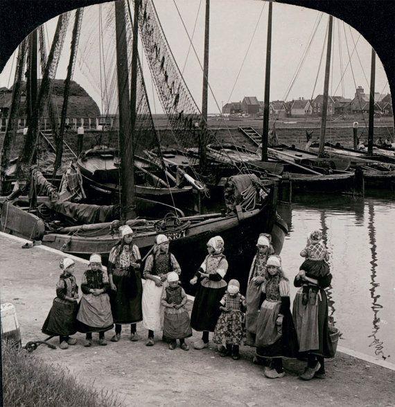 1910 Dutch Girls Holland Wooden Shoes by Sailboats.NoordHolland Marken