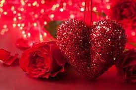 Shiny heart with rose and shiny backgrounf