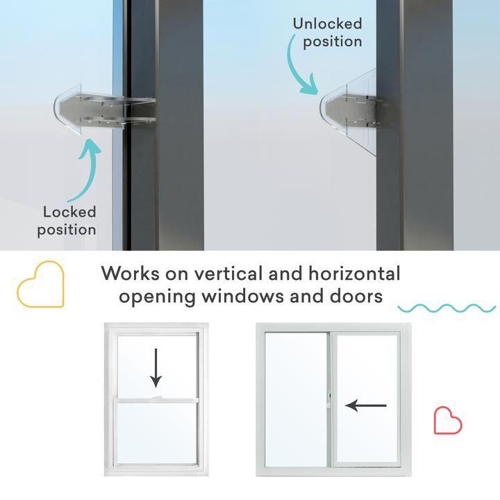 Safetynex 3m Adhesive Sliding Door Lock For Child Safety Baby Proof W Sure Basics Sliding Doors Window Locks Sliding Screen Doors