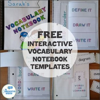 These FREE Interactive Vocabulary Notebook Templates are great for creating…