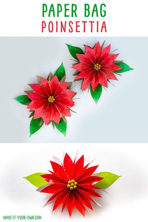 Paper Bag Poinsettias Paper Bag Crafts Paper Flowers Diy Easy