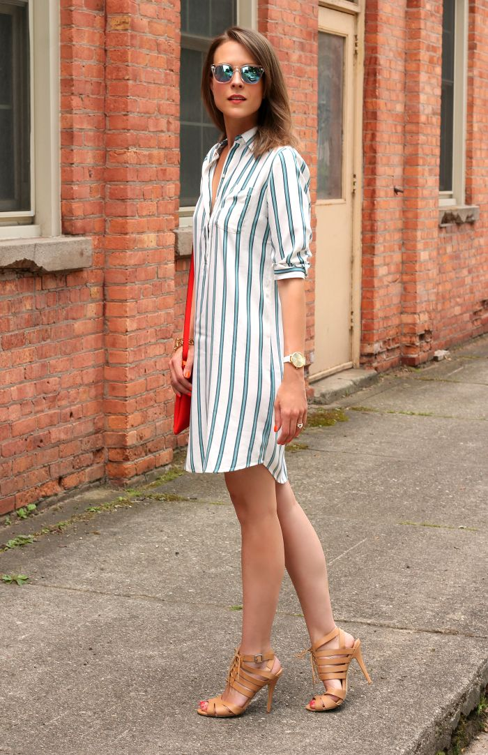 Striped shirt dress. Kutula Kiss loves to follow the local fashion trends in Vancouver. Our company supports woman in Colombia by providing them with fair wages and steady business. Check out our website to view our beautiful hand made jewelry: kutulakiss.com