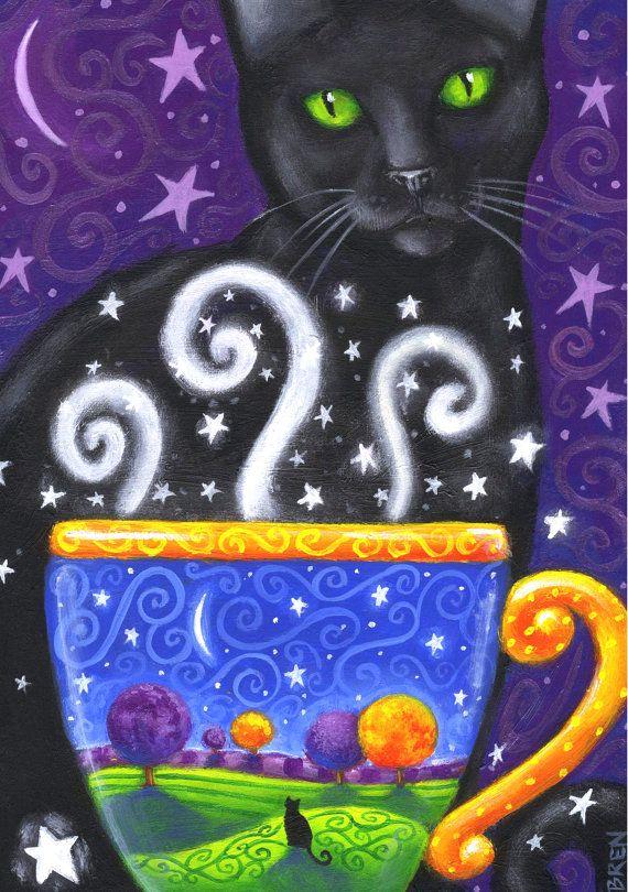 Gato negro café Magic - el primero de la serie - 5 x 7 grabado - por Brenna White - otoño otoño café stars luna