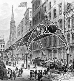 Pneumatic Elevated Railway – 1880 –  Henry Gilbert's design was a hybrid of Alfred Beach's air-powered underground and Charles T Harvey's cable-powered elevated railway. Passengers would be moved through a double row of 'atmospheric tubes' suspended from wrought-iron Gothic arches, held on slender Corinthian columns. The Wall Street Panic of 1873 killed Gilbert's untested scheme.