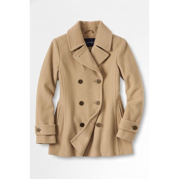 Lands' End Women's Luxe Wool Insulated Peacoat ($189) ❤ liked on Polyvore featuring outerwear, coats, jackets, double breasted woolen coat, wool coat, lands' end, wool peacoat and insulated coat