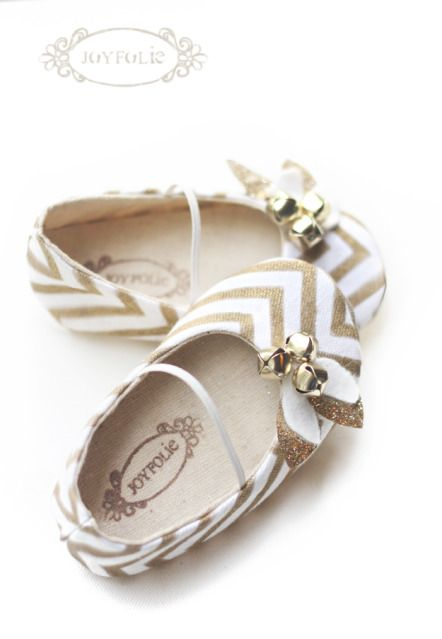Gold Chevron shoes... with a few little jingle bells thrown in! These will be available via the Joyfolie website, the second week of December! #kids #baby #shoes