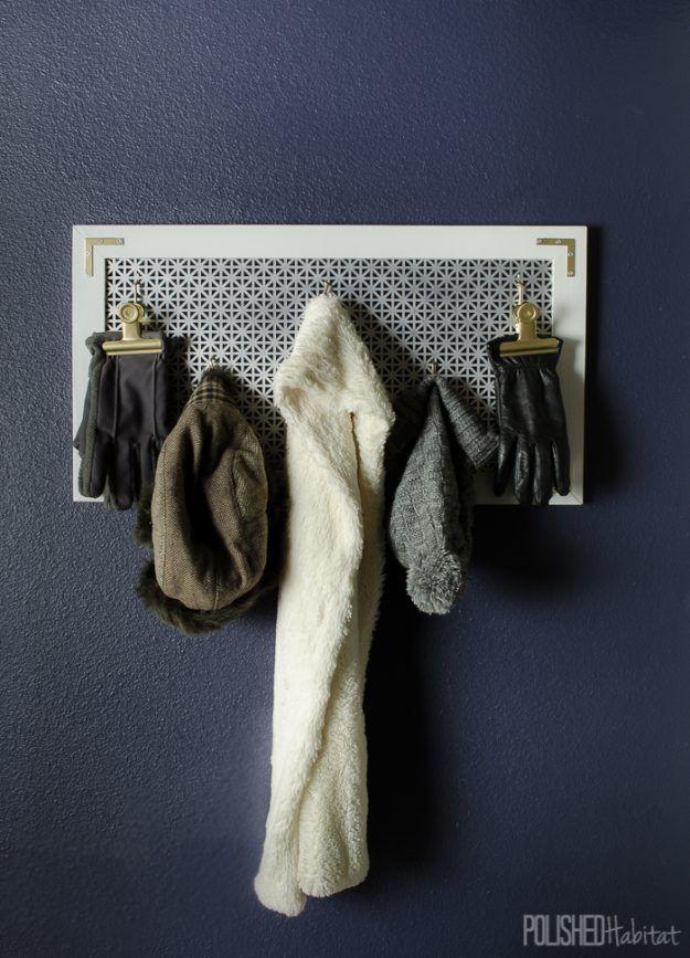 Simple DIY Coat Rack and Mitten Holder | Clever Winter Gear Organization Ideas