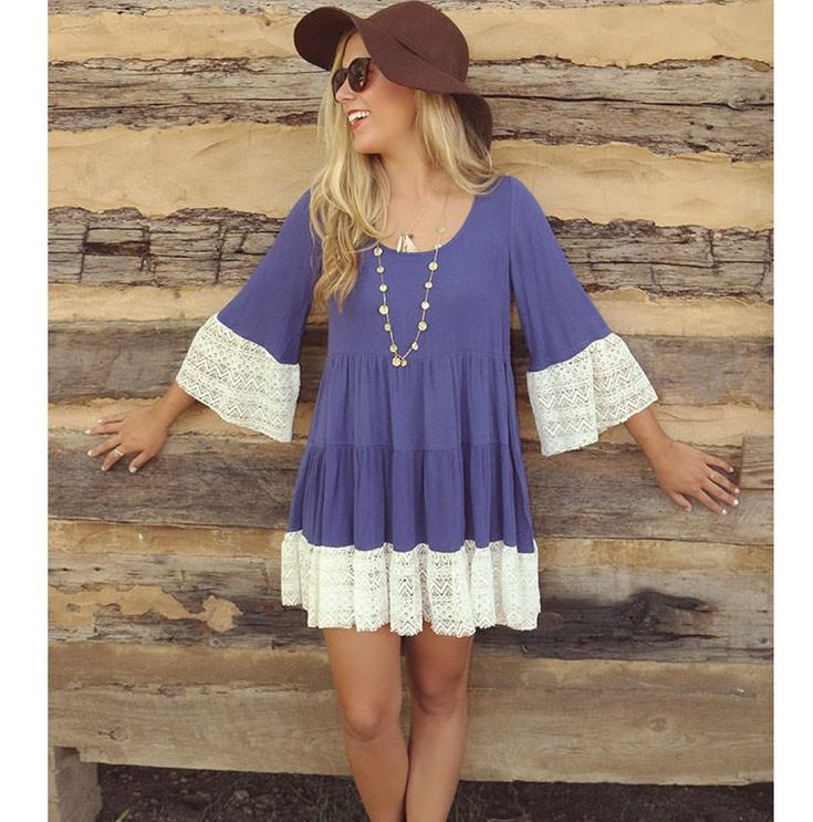 3/4 Sleeves Solid Color Scoop Lace Splicing Short Dress