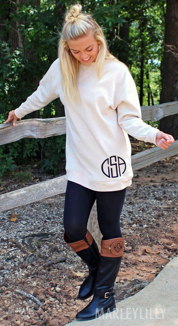 Your closet is missing a Monogrammed Sweatshirt Tunic! Personalize your own today at https://marleylilly.com/product/monogrammed-sweatshirt-tunic/