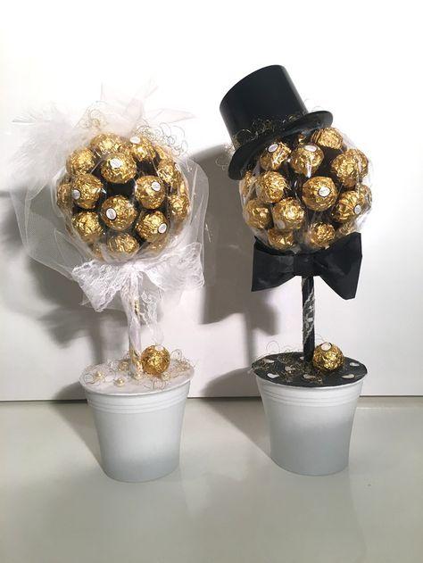Geschenkidee zur Hochzeit: Baum aus Schokopralinen für Braut und Bräutigam / sweet flowers as wedding gift: trees made of chocolate pralines made by Sweet-Flowers via DaWanda.com