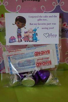 Doc McStuffins birthday party gift bags! See more party ideas at CatchMyParty.com!