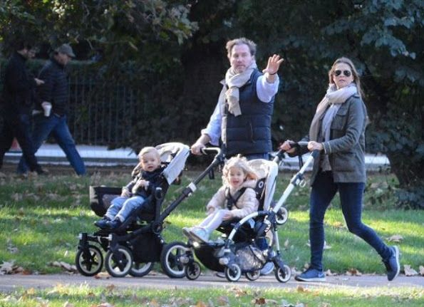 November 2016 - Princess Madeleine with Christopher and their children, Princess Leonore and Prince Nicolas in London