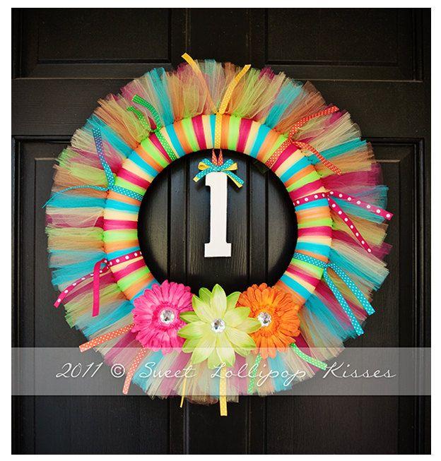 "TUTU WREATH: ""Rainbow"" Design - Great for Girls Birthday Decoration, Room Decor…"
