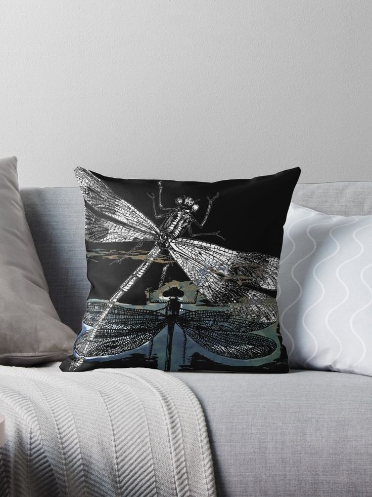 Vintage Dragonflies with abstract paintings. ©2016 by Pia Schneider, atelier COLOUR-VISION • Also buy this artwork on home decor, apparel, stickers und more.  #art #dragonfly #kunst #pod #piaschneider #redbubble #kissen #pillows #dekoration #homedecor