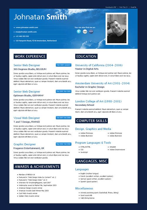 Cielo CV  Cielo CV is a modern, web2.0 styled HTML CV (Resume) template that will enhance your chance of finding better work proposals.