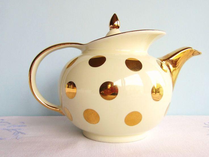Reserved for jessica hall china polka dot teapot ivory for Gold polka dot china