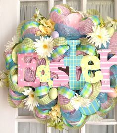 easter wreaths to make for front door | ... for - Deco Mesh Easter sign wreath with eggs by Souther Charm Wreaths