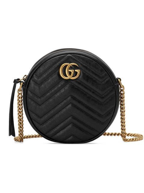 40a90ed3912 Gucci Black GG Marmont Mini Round Shoulder Bag in 2019 ...