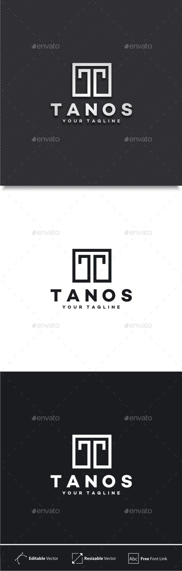 Tanos - Letter T Logo by yopie Logo Template : 100% Vector 100% Customizable High Quality Editable Text Font Name and Link for download are provided in Readme fi