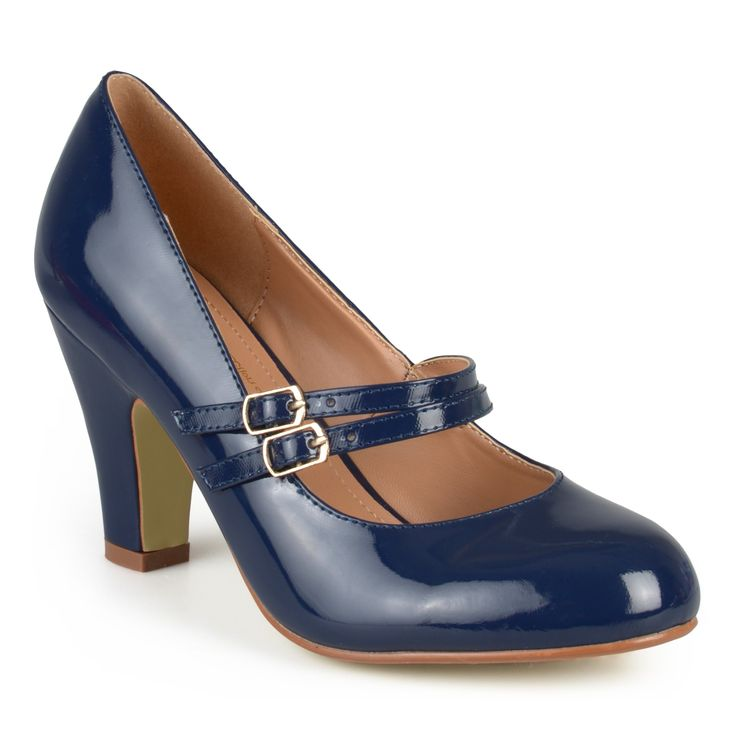 Dress to impress in Mary Jane pumps by Journee Collection. These shoes feature faux leather uppers with classic round toes and double straps across the vamps. A small chunky heel completes the design of these practical and stylish pumps.